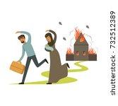 stateless refugee family... | Shutterstock .eps vector #732512389
