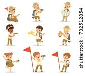 set of girls and boys in scout... | Shutterstock .eps vector #732512854