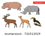 zoo animals vector logo icon... | Shutterstock .eps vector #732513529