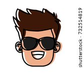 boy with sunglasses cartoon | Shutterstock .eps vector #732514819