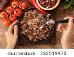 woman stirring cooked minced... | Shutterstock . vector #732519973