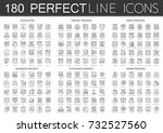 180 outline mini concept... | Shutterstock .eps vector #732527560