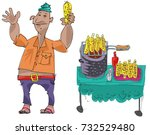 an indian street vendor in... | Shutterstock .eps vector #732529480