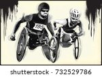 wheelchair racing. from the... | Shutterstock .eps vector #732529786