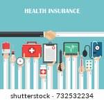 health insurance flat design... | Shutterstock .eps vector #732532234