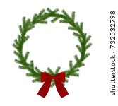 christmas wreath with ribbon ... | Shutterstock .eps vector #732532798