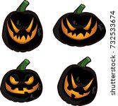 Set Of 4 Black Halloween Jack ...