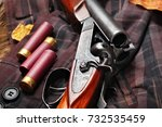 hunting double barrel vintage... | Shutterstock . vector #732535459