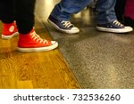 two person walk in sneakers. | Shutterstock . vector #732536260
