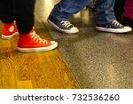 two person walk in sneakers. | Shutterstock . vector #732536260