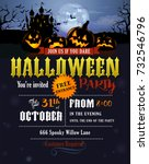halloween party invitation with ... | Shutterstock .eps vector #732546796
