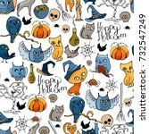seamless pattern with halloween ... | Shutterstock .eps vector #732547249