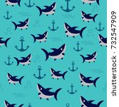 seamless pattern with cute... | Shutterstock .eps vector #732547909