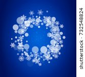 new year snowflakes on blue...   Shutterstock .eps vector #732548824
