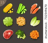 food ingredients set 15   Shutterstock .eps vector #732549670