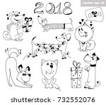 new year symbol   dogs and 2018 ... | Shutterstock .eps vector #732552076