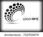 halftone dots in circle form.... | Shutterstock .eps vector #732554074