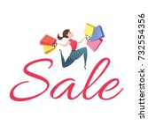 sale poster with young woman... | Shutterstock .eps vector #732554356