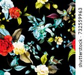 seamless floral background... | Shutterstock .eps vector #732559963