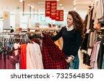 brunette female customer... | Shutterstock . vector #732564850