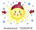 bright sun in a hat and mittens ... | Shutterstock . vector #732565978