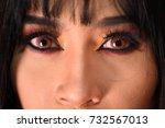 closeup eyes of beautiful woman | Shutterstock . vector #732567013