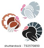 stylized turkey birds | Shutterstock .eps vector #732570850