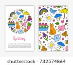card templates with hand drawn... | Shutterstock .eps vector #732574864