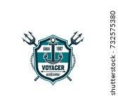 voyager marine heraldic shield... | Shutterstock .eps vector #732575380