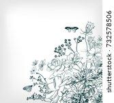 engraving flower background... | Shutterstock .eps vector #732578506