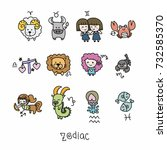zodiac cute cartoon vector... | Shutterstock .eps vector #732585370