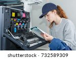 woman reading instruction... | Shutterstock . vector #732589309