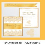 luxury wedding invitation... | Shutterstock .eps vector #732590848