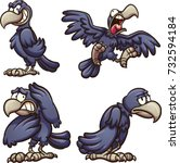 cartoon crow with different... | Shutterstock .eps vector #732594184