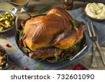 organic homemade smoked turkey... | Shutterstock . vector #732601090