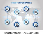 infographic design with hobby... | Shutterstock .eps vector #732604288