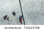 top aerial view of people walk... | Shutterstock . vector #732622708
