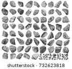 large set of realistic hand... | Shutterstock .eps vector #732623818