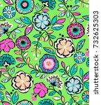 neon flower line drawing  ... | Shutterstock .eps vector #732625303