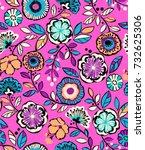 neon flower line drawing  ... | Shutterstock .eps vector #732625306