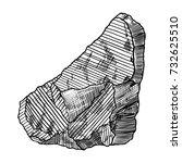 rock stone. black and white... | Shutterstock .eps vector #732625510