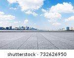 empty brick floor and cityscape ...   Shutterstock . vector #732626950