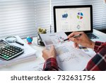 businessman hand working with... | Shutterstock . vector #732631756