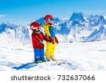 child skiing in the mountains....   Shutterstock . vector #732637066