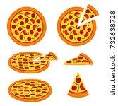 pizza vector set design image.... | Shutterstock .eps vector #732638728