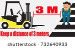 forklift safety.keep a distance ... | Shutterstock .eps vector #732640933