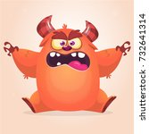 cute cartoon monster. vector... | Shutterstock .eps vector #732641314