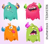 cartoon monsters. vector set of ... | Shutterstock .eps vector #732641506