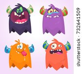 Stock vector cartoon monsters set for halloween vector set of cartoon monsters isolated design for print 732641509