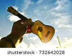 the musicians holding guitar in ... | Shutterstock . vector #732642028